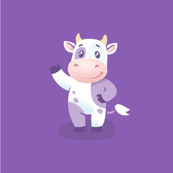 Funny cow cartoon character, hsppy cow vector illustrarion, Year of the Ox cartoon image design