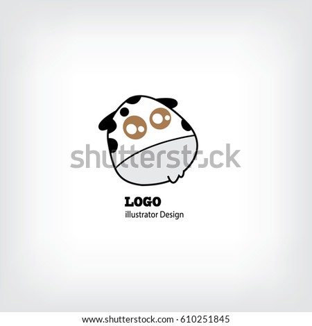 funny cow head logo template