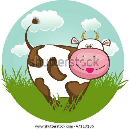 funny cows. stock vector : Funny cow on