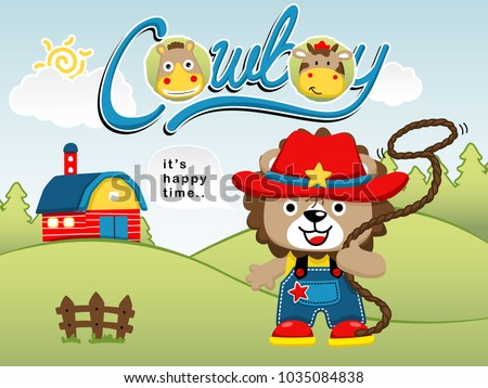 funny cowboy cartoon vector in