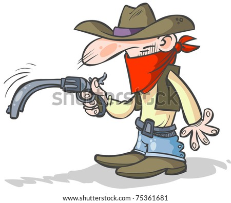 Funny cowboy with a drooping gun. - stock vector