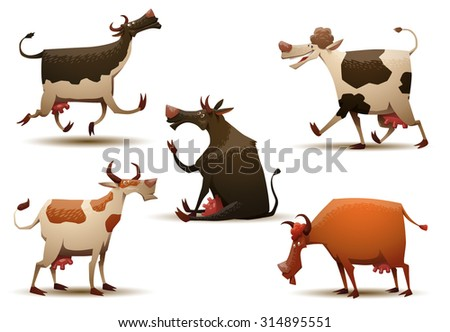 funny cows set  vector