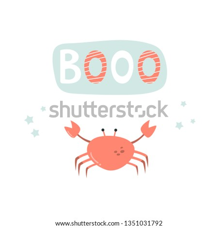 funny crab on white background