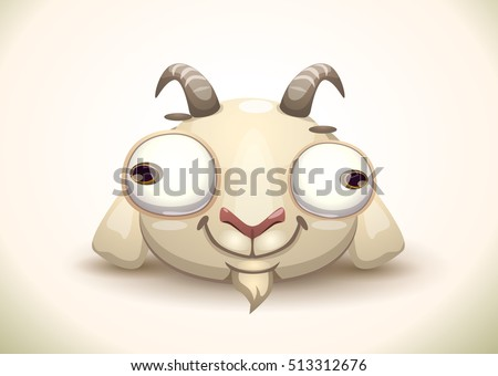 funny crazy goat face icon