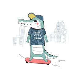 Funny crocodile dressed up in urban style skating in Big City, vector kids graphics for textile, t-shirt print