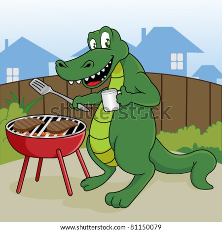 Funny Crocodile Grill A Steak Outdoor Stock Vector 81150079 ...