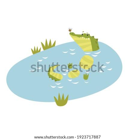 Funny crocodile in the lake. Vector cartoon crocodile. The crocodile is resting.