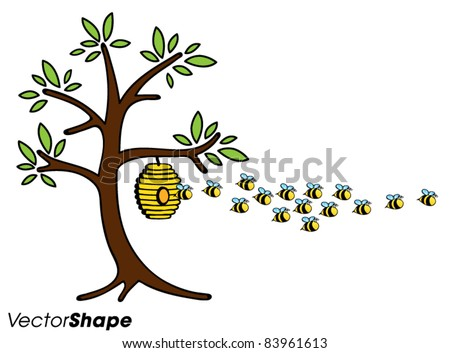 Funny Cute Cartoon Bees Flying Away From The Bee Hive On A Tree Vector Illustration