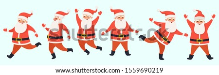 Funny cute cartoon Santa Claus character dancing and running. Happy New Year and Merry Christmas card. Vector Merry Christmas illustration.