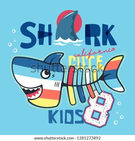 Funny cute cartoon shark bone isolated on blue background illustration vector, T-shirt design for kids.
