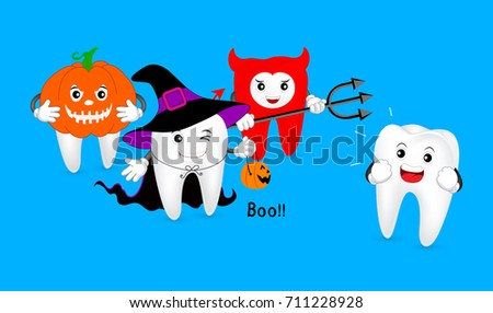 Funny Cute cartoon tooth characters, witch, devil and pumpkin. Trick or Treat concept, Happy Halloween day,  illustration on blue background.