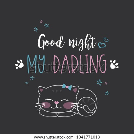 funny cute cat and phrase  good