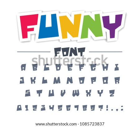 Funny, cute, child font type. Comic, cartoon, fun, happy kid alphabet. Letters, numbers typeset for character, colorful graffiti style game logo design. Modern birthday art, trendy vector abc typeface