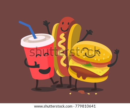 Funny cute fast food. Vector for kids restaurant