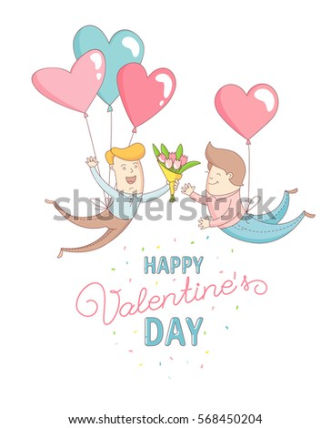 Funny cute gay men characters flying by heart balloons to congratulate each other with Happy Valentine's Day. Flat line design style. Vector illustration. Stockfoto ©