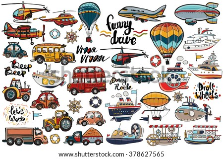 Funny cute hand drawn kids toy transport. Baby bright cartoon air transport, water transport and road transport child items vector on light background. Set of isolated elements.