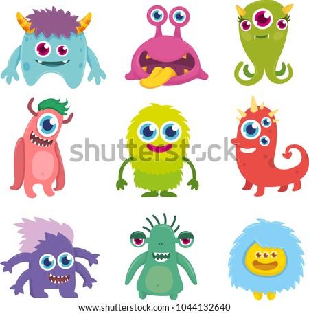 Funny Cute Little Monster Set #1044132640