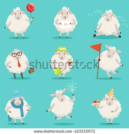 Funny cute little sheep cartoon characters set for label design. Colorful detailed vector Illustrations isolated on white background