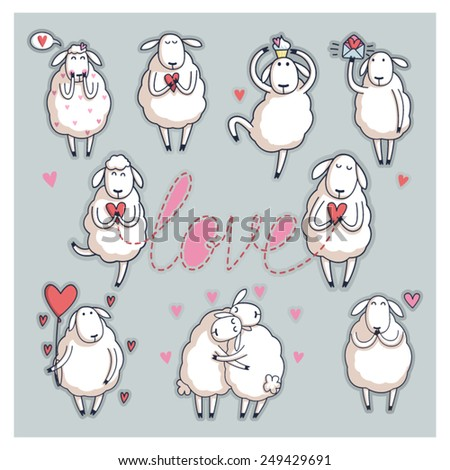 funny cute sheep valentine's
