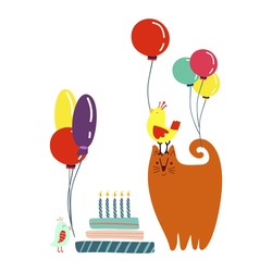 Funny cute vector illustration. A red cat and birds stands near a huge cake with balloons. Birthday celebration concept. Doodle cartoons. Festive mood. Design for cards, banners, posters, textiles.