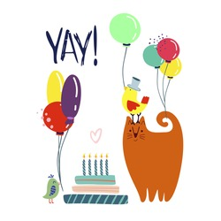 Funny cute vector illustration. A red cat and birds stands near a huge cake with balloons. Birthday celebration concept.  YAY! lettering. Festive mood. Design for cards, banners, posters, textiles.