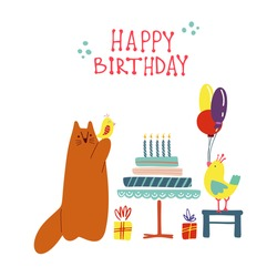 Funny cute vector illustration. A red cat and bright birds stands near a huge cake with gifts. Birthday celebration concept. Festive mood. Design for cards, banners, posters, textiles.