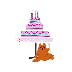 Funny cute vector illustration. A red cat sits near a huge cake. Birthday celebration concept..Festive mood. Design for cards, banners, posters, textiles.
