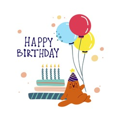 Funny cute vector illustration. A red cat sits near a huge cake with balloons. Birthday celebration concept. Happy birthday lettering.Festive mood. Design for cards, banners, posters, textiles.