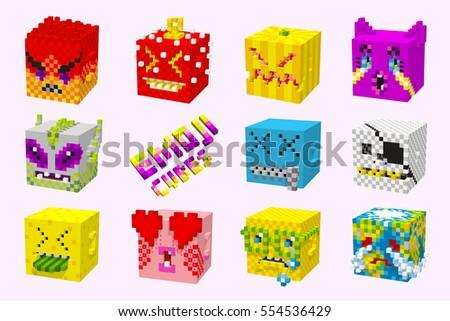 funny 3d emoticons  pixel cubes