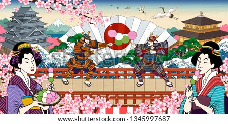 Funny dango ads with two samurai fighting for it, ukiyo-e style japanese landmark and characters