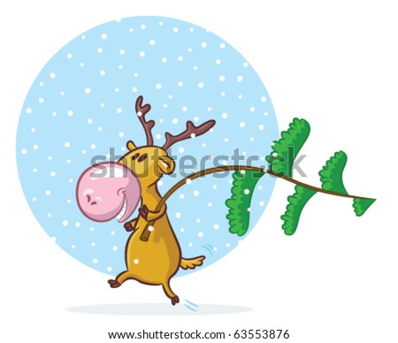 funny deer pictures. stock vector : Funny deer be going to decorate pine-tree for Christmas