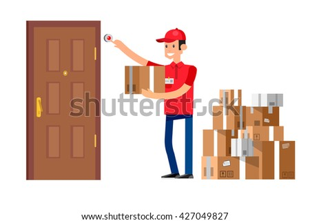 Funny Delivery character man fast to the door and by delivery courier flat set  sc 1 st  Vecteezy & Delivery Man Flat Illustration Vector - Download Free Vector Art ... pezcame.com