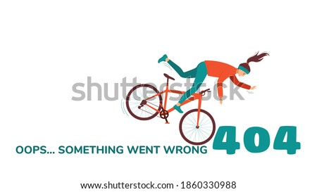 Funny 404 design template with a cyclist falling from a bicycle. Concept of unusual original vector illustration for error page. Oops ... Something went wrong. Isolated on white background
