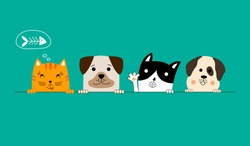 Funny dog and cute cat best friends. Happy friendship day. Vector illustration.