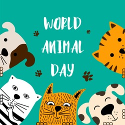 Funny dog and cute cat best friends. World animal day. Doodle style. Vector illustration.