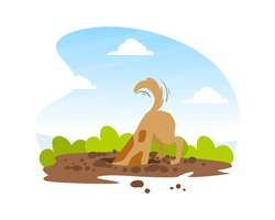 Funny Dog Digging Deep Hole in Garden, Beautiful Summer Landscape Flat Vector Illustration