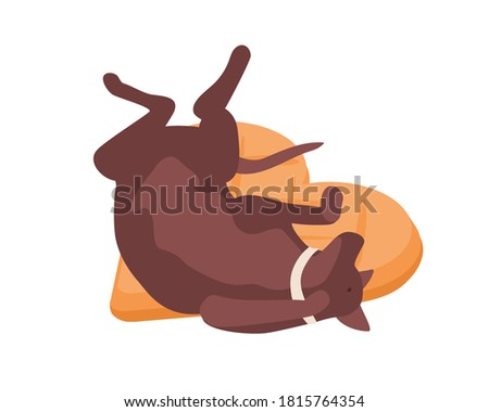 Funny dog in collar relaxing lying on comfortable pillow vector isometric illustration. Happy domestic animal sleeping raising paws isolated on white background. Calm pet resting or reposing on floor Photo stock ©