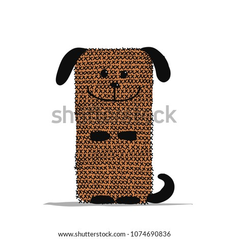 Funny dog knitting, sketch for your design