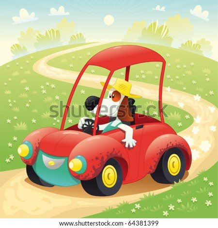Funny dog on a car. Cartoon and vector illustration, isolated objects