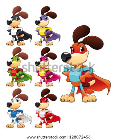 Funny dog super hero Vector cartoon isolated characters