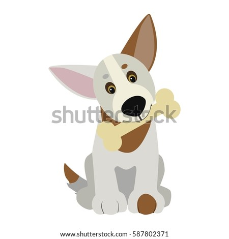 Funny Dog With Bone In Mouth Cartoon Character Children Toy Cute