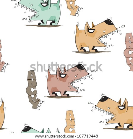 Funny doggy seamless texture. Vector illustration