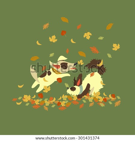 funny dogs playing with autumn