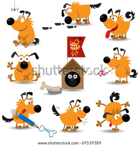 Funny dogs set#2 (Vector Illustration for web design) - stock vector