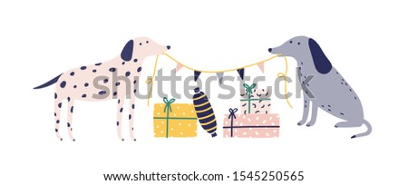 Funny dogs with Christmas gift boxes flat vector illustration. Cute animals and presents isolated on white background. Festive New Year greeting card, postcard design element. Winter holiday season.