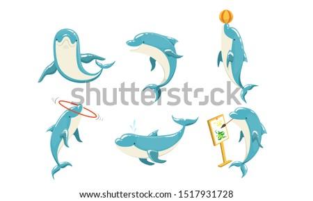 Funny Dolphins Set, Cute Ocean Mammals Performing Tricks Vector Illustration