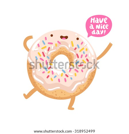 Vector funny donut character wishing you a good day 318952499 jpg