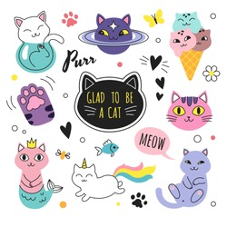 Funny doodle cats collection. Vector illustration of cute cartoon cats in different poses and unusual interpretation. isolated on white.