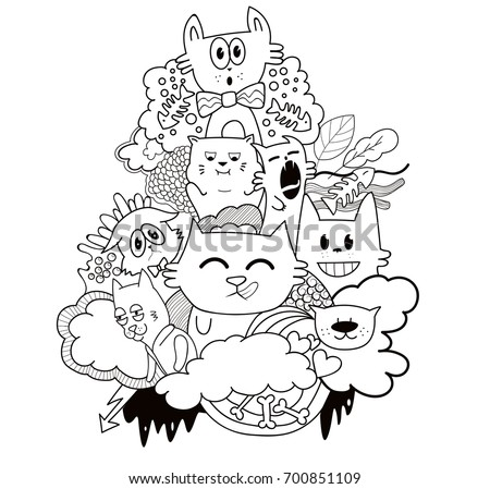 Funny Doodle Character Cats Coloring Page