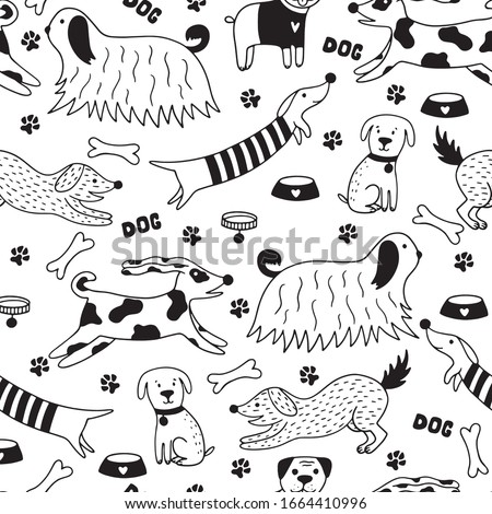Funny doodle dogs seamless pattern. Scandinavian illustration with dogs, paws, bone, dog collar, dog bowl on a white background. Perfect for wallpaper, wrapping, textile.